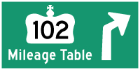 HYPERLINK TO HWY 102 #2 MILEAGE TABLE PAGE - © Cameron Bevers