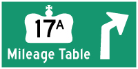 HWY 17A KENORA MILEAGE TABLE - © Cameron Bevers