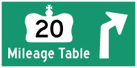 HWY 20 MILEAGE TABLE - © Cameron Bevers