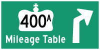 HWY 400A MILEAGE TABLE - © Cameron Bevers