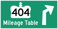 HWY 404 MILEAGE TABLE - © Cameron Bevers