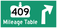 HWY 409 MILEAGE TABLE - © Cameron Bevers