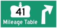 HWY 41 MILEAGE TABLE - © Cameron Bevers