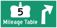 HWY 5 MILEAGE TABLE - © Cameron Bevers