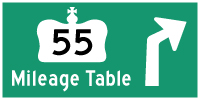 HWY 55 (#2) MILEAGE TABLE - © Cameron Bevers