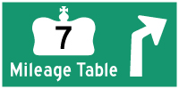 HWY 7 MILEAGE TABLE - © Cameron Bevers