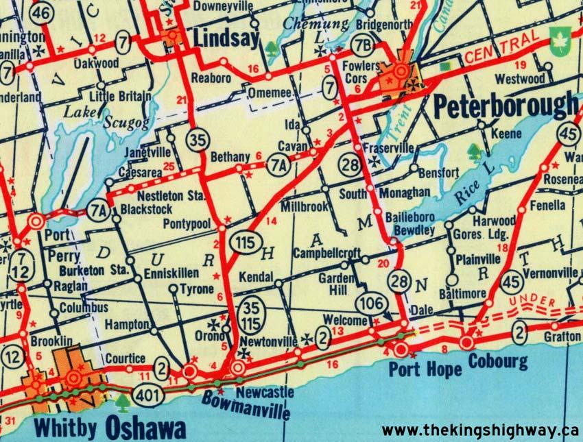 Ontario Highway 115 Route Map The Kings Highways of Ontario