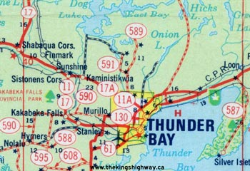 HWY 11A THUNDER BAY MAP