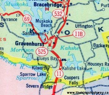 HWY 11B GRAVENHURST MAP