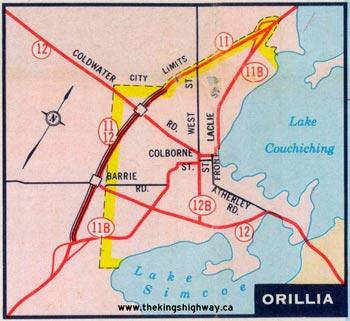 HWY 12B ORILLIA MAP