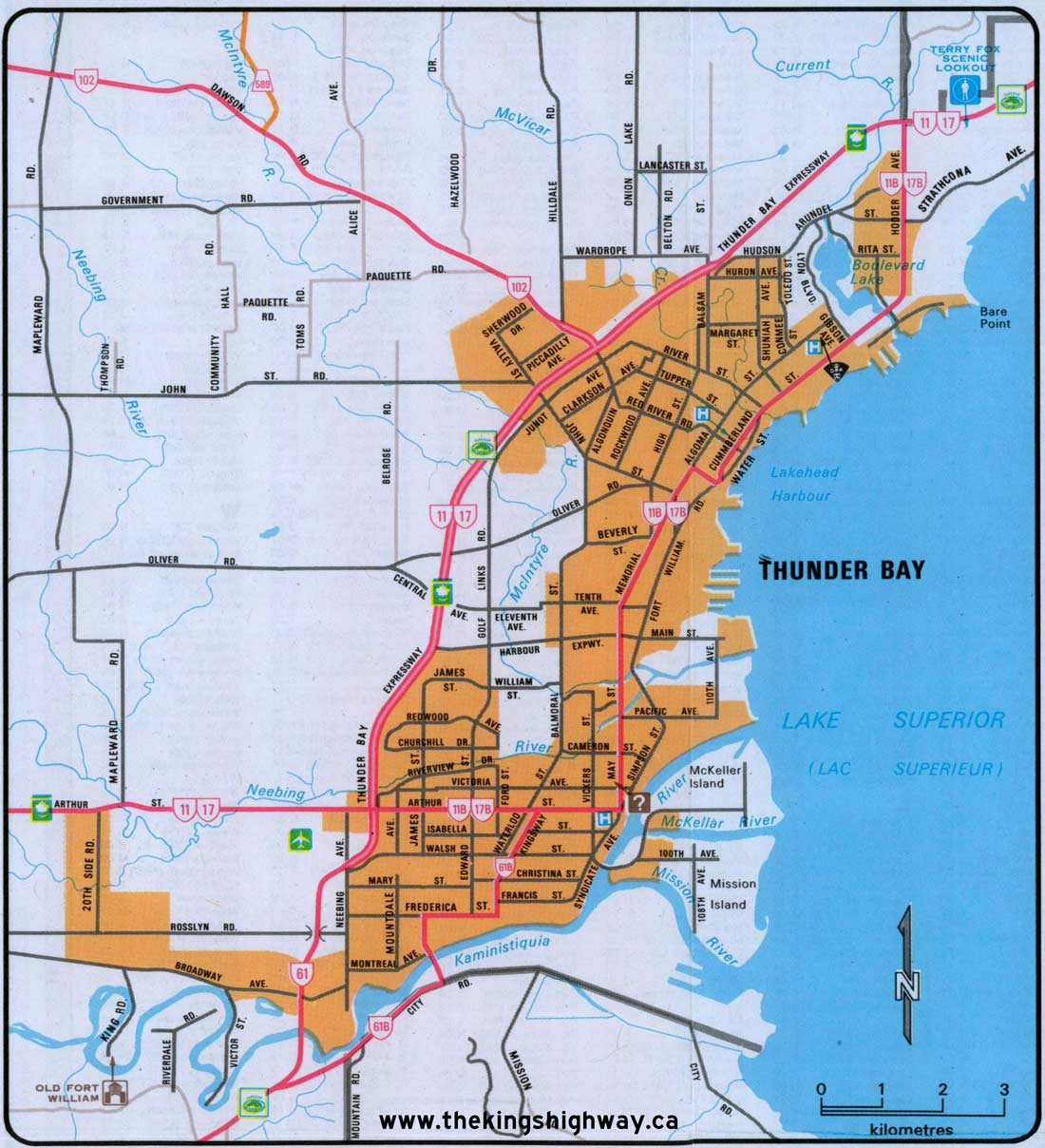 Ontario Highway 11B Thunder Bay Route Map The Kings Highways of