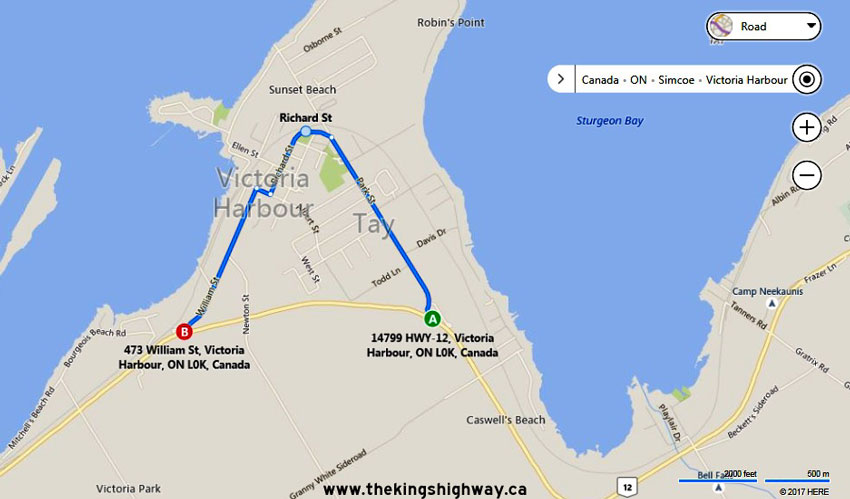 HWY 12B VICTORIA HARBOUR MAP