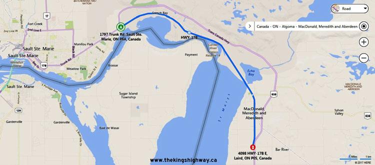 HWY 17B ECHO BAY MAP