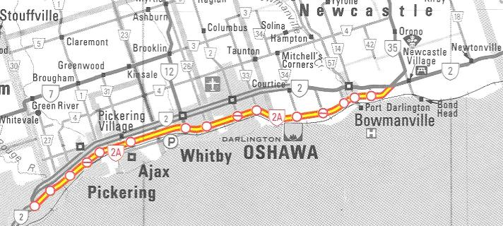 HWY 2A TORONTO MAP - 1952
