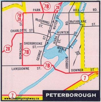 HWY 7B PETERBOROUGH MAP - 1965