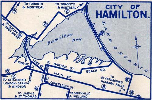 HWY 8A HAMILTON MAP
