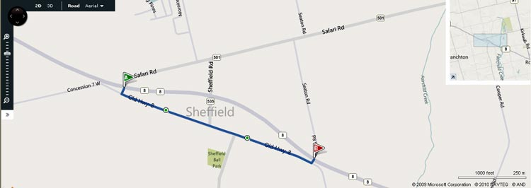HWY 8B SHEFFIELD MAP