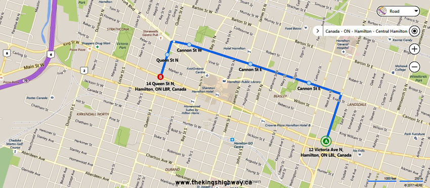 Hamilton Ontario Canada Map.Ontario Highway 8 Alt Route Map The King S Highways Of Ontario