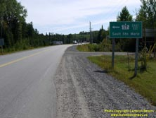 HWY 17 #1361 - © Cameron Bevers: A close-up view of a green highway guide sign, which reads Hwy 17 East/Est Sault Ste. Marie