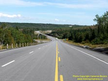 HWY 17 #1366 - © Cameron Bevers: A centreline view of Hwy 11 and Hwy 17 approaching the Nipigon River Bridge at a long sweeping curve
