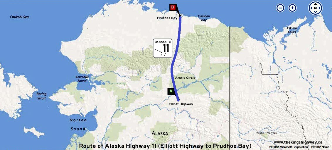 ALASKA HWY 11 ROUTE MAP - © Cameron Bevers