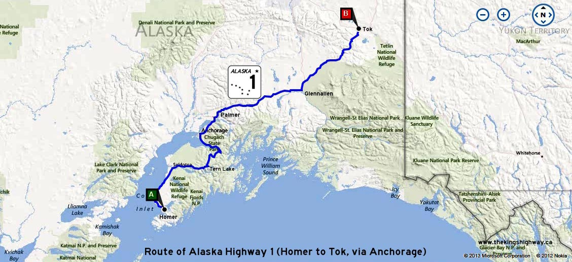 ALASKA HWY 1 ROUTE MAP - © Cameron Bevers
