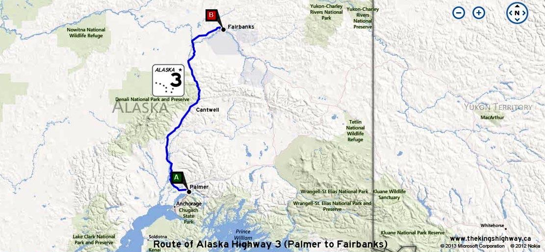 ALASKA HWY 3 ROUTE MAP - © Cameron Bevers