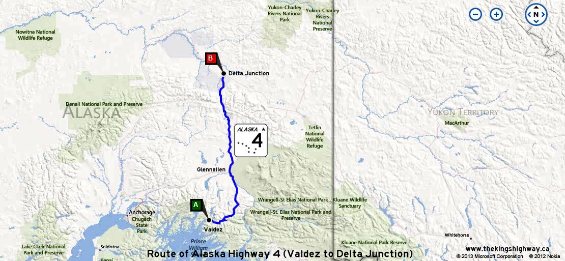 ALASKA HWY 4 ROUTE MAP - © Cameron Bevers