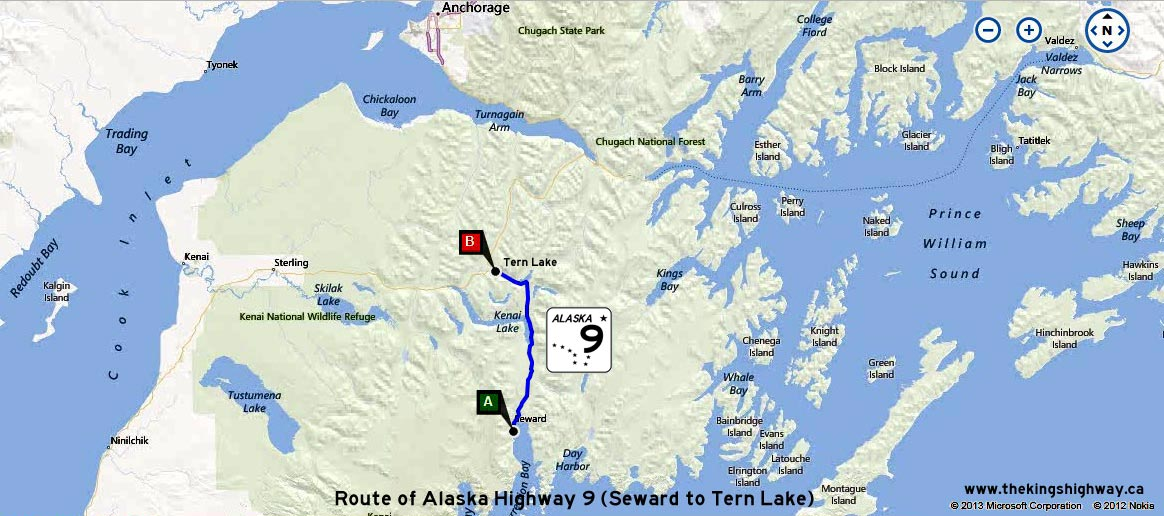 ALASKA HWY 9 ROUTE MAP - © Cameron Bevers