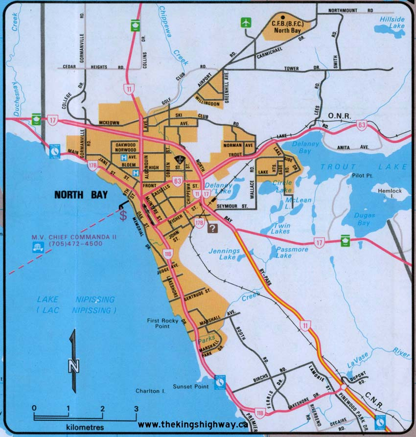 North Bay Map Ontario Highway 17B (North Bay) Route Map   The King's Highways of